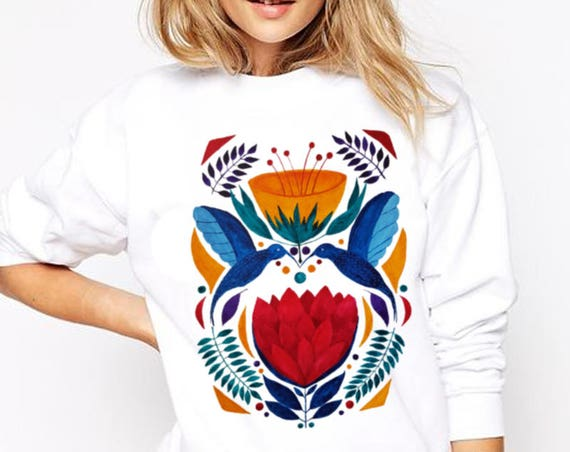 Love Birds |  Unisex Heavy Blend Crewneck Sweatshirt | Graphic Sweatshirt | Watercolor kissing hummingbirds | Ethnic art | ZuskaArt