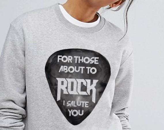 For those about to rock I salute you | Unisex Heavy Blend Crewneck Sweatshirt | AC / DC clothing | Guitar pick | Rock music | ZuskaArt