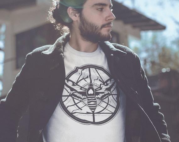 Moth Totem Geometric Design   Unisex Heavy Blend Crewneck Sweatshirt   Ink tattoo style Sweatshirt   Graphic Shirt   Black&White   ZuskaArt