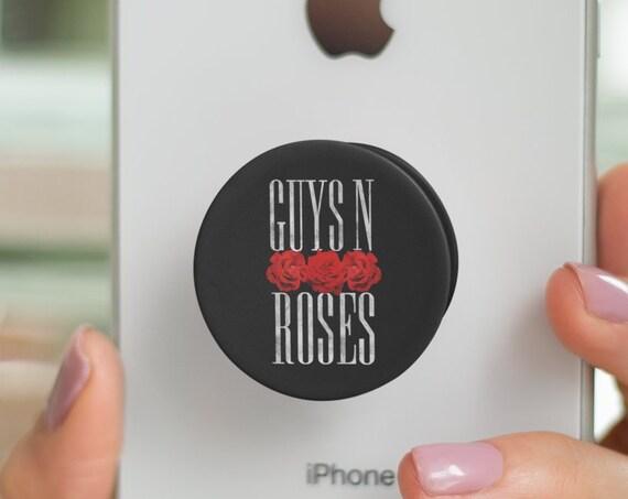 Guys N Roses PopSocket Phone Accessory | Tech Christmas Gift | Iphone / Samsung Phone Decal | Guns 'N Roses pun Pop Socket | ZuskaArt