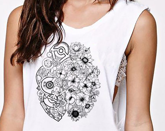 Left Brain Right Brain   Women Sexy and Flowy Muscle Tank   Graphic tank   Tattoo style   Original Artwork   Pen and Ink flowers   ZuskaArt