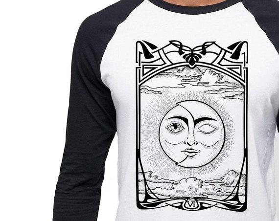 The Lovers  VI Tarot Card | Unisex Raglan T-Shirt| Sun and Moon | Cosmic Wedding | Solar Eclipse | Original artwork | Ink drawing | ZuskaArt
