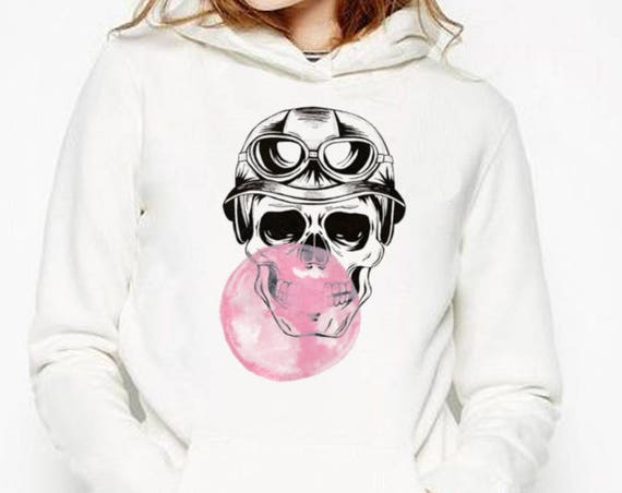 Sugar Skull with bubble gum balloon | Unisex Hooded Sweatshirt | Graphic hoodie | Calaveras| Day of the dead | Aviator| Tattoo | ZuskaArt