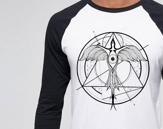 Phoenix ascending | Unisex Raglan T-Shirt | Geometrical drawing | Phoenix bird | Graphic shirt | Ink Tattoo style | Alchemy |ZuskaArt