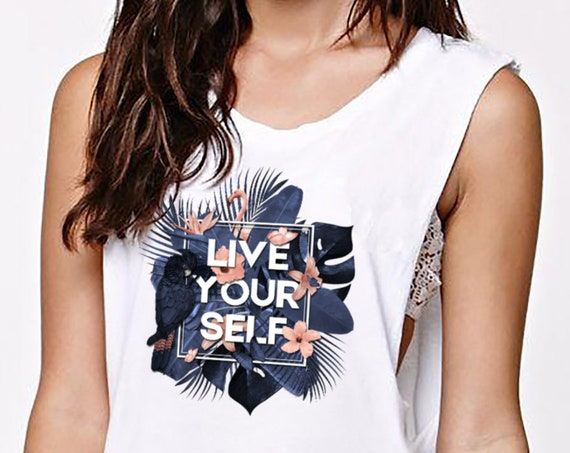 Live Your Self | Women Sexy and Flowy Muscle Tank | Tropical leaves | Parrots and butterflies | Motivational quote |  ZuskaArt