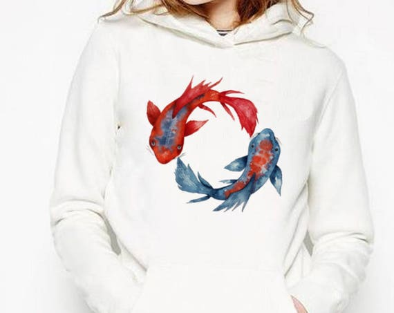 Yin Yang Koi Fish | Unisex Heavy Blend Hooded Sweatshirt | Graphic Hoodie | Watercolor yoga art | Japanese carp | Yoga clothing | ZuskaArt