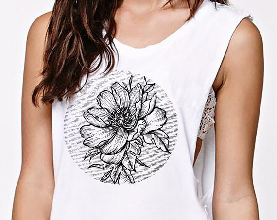 Blooming Flower | Women Sexy and Flowy Muscle Tank Top | Cherry Tree | Geometric Art | Ink Tattoo style | ZuskaArt