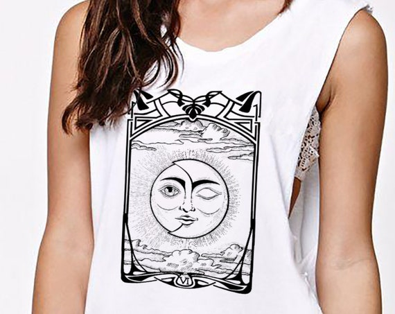 The Lovers VI Tarot Card | Women Sexy and Flowy Muscle Tank Top | Sun and Moon | Cosmic Wedding | Solar Eclipse | ZuskaArt