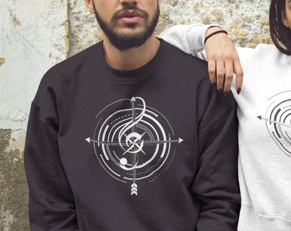 Sol key compass | Unisex Heavy Blend Crewneck Sweatshirt | Tattoo style music Sweatshirt | Graphic Drawing | Black&White | ZuskaArt