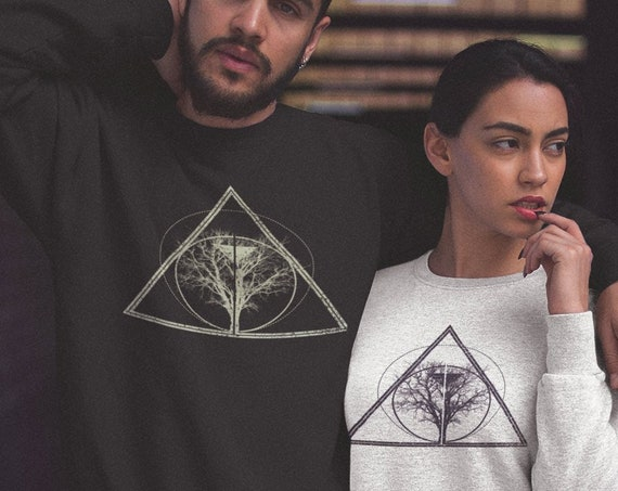 Tree of life / knowledge | Unisex Heavy Blend Crewneck Sweatshirt | Graphic Drawing | Bodhi tree Sweatshirt | Geometric design | ZuskaArt