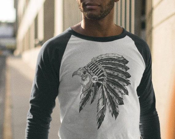 Horus falcon with sacred feathers headdress | Unisex Raglan Shirt | 3/4 sleeves | Third eye of Horus | Tattoo style | Ink drawing | ZuskaArt