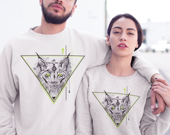 Geometrical Lynx | Unisex Heavy Blend Crewneck Sweatshirt | Graphic Drawing | Bobcat animal spirit totem | Geometric design | ZuskaArt