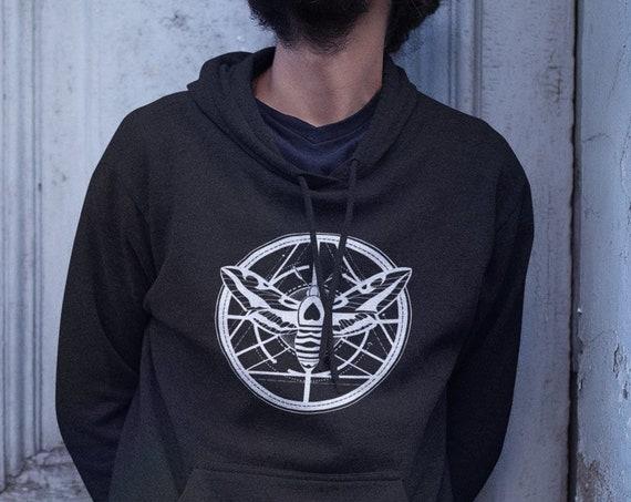 Moth Totem | Unisex Heavy Blend Hooded Sweatshirt | Graphic Hoodie | Geometric design | Ink tattoo style Hoodie | ZuskaArt