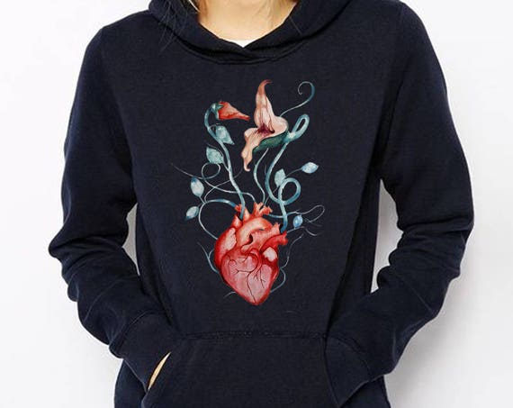 Pink Floyd The Wall Love Flowers Unisex Heavy Blend Hooded Graphic Sweatshirt | Hoodie | Anatomical heart | Rock music fan art | ZuskaArt