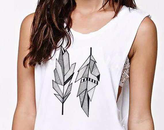 Sacred Feathers | Women Sexy And Flowy Muscle Tank Top | Native American Art | Graphic Drawing | Geometric Art | Ink Tattoo style | ZuskaArt