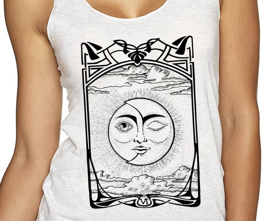 The Lovers VI Tarot Card | Ladies Racerback Tank Top | Sun and Moon | Cosmic Wedding | Solar Eclipse | Original ink artwork | ZuskaArt