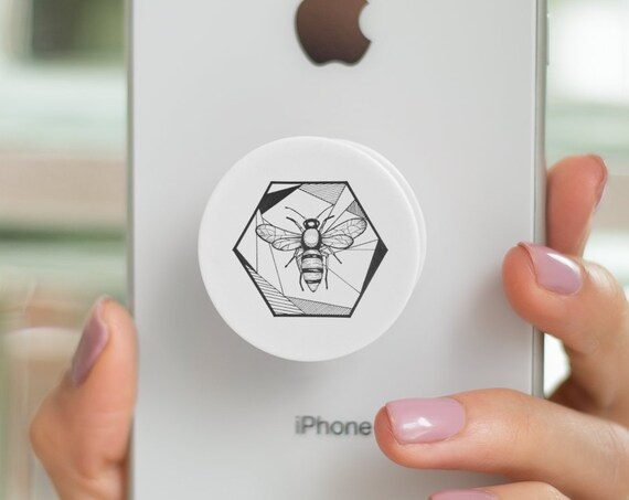 Honeycomb Bee PopSocket Phone Accessory | Tech Christmas Gift | Iphone / Samsung Phone Decal | Pop Socket | Save the bees | Zuska Art