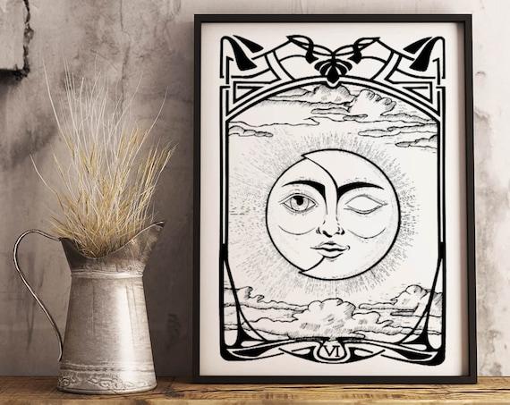 The Lovers VI Tarot Card | Framed Poster | Sun and Moon | Solar Eclipse | Original ink artwork | Cosmic Wedding | Archival | ZuskaArt
