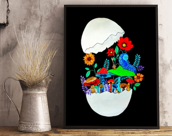 Smoking caterpillar | Framed Poster | Absolem | Alice in wonderland | Magic mushrooms | Psychedelic art | Watercolor egg painting | ZuskaArt