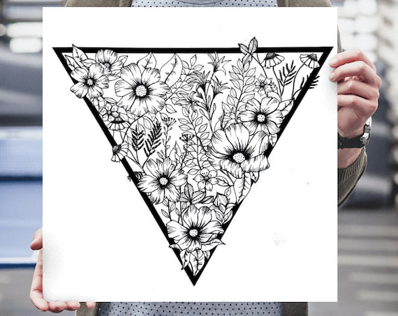Triangle flowers | Archival print | Wall decor | Ink Illustration | Tattoo art | Black and white | Floral art | Geometric drawing | ZuskaArt