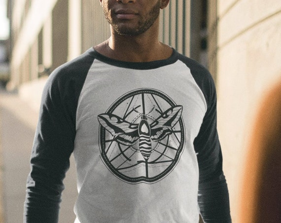 Moth Totem Geometrical Design | Unisex Raglan T-Shirt | 3/4 sleeves | Basketball shirt | Apparel for her / him | Ink tattoo style Raglan