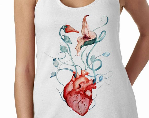 Pink Floyd The Wall Flowers | Satin Jersey Ladies' Shirttail Tank Top | Graphic shirt | Anatomical heart | Rock music fan gift | ZuskaArt
