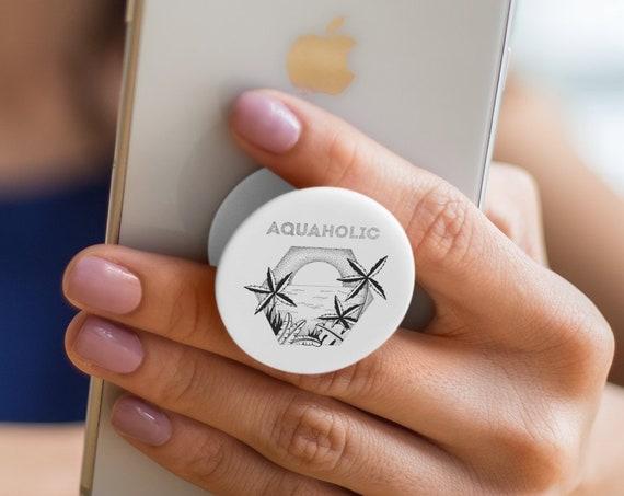 Aquaholic PopSocket Phone Accessory | Tech Christmas Gift | Iphone / Samsung Phone Decal | Pop Socket | Beach & Palm trees | Zuska Art