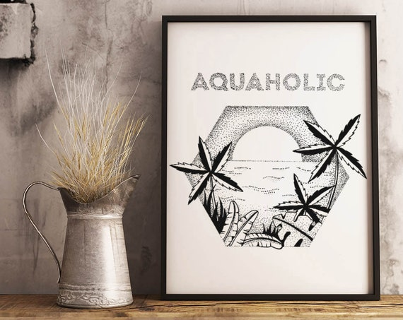 Aquaholic | Framed Poster | Palm trees | Tattoo style | Original artwork | Ocean sunset /sunrise | Beach art | Tropical wall art | ZuskaArt