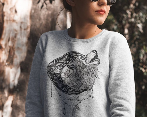 Mandala moon howling wolf | Unisex Heavy Blend Crewneck Sweatshirt | Graphic Drawing | Animal spirit totem | Ink Tattoo design | ZuskaArt