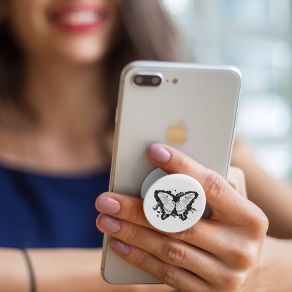 Butterfly Kissing Lovers PopSocket Phone Accessory | Tech Christmas Gift | Iphone / Samsung Phone Decal | Watercolor tattoo Pop Socket
