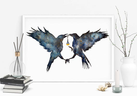 Magic Ravens   Enhanced Paper poster   Shamanic crow   Elixir Potion   Watercolor galaxy   Spirit animal totem   Native American   ZuskaArt