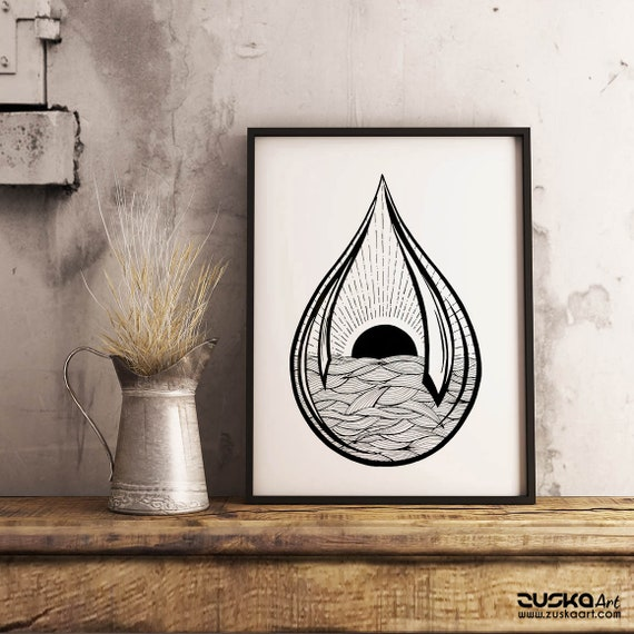 Black Sun Teardrop | Framed Poster | Archival Print | Ink Tattoo style | Graphic Design | Ocean Waves | Sunrise sunset | ZuskaArt
