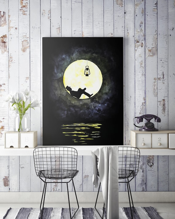 The lunatic canvas | Man in the moon framed canvas | Dark Wall art | Original artwork | Lightbulb | Lighthouse | ZuskaArt |