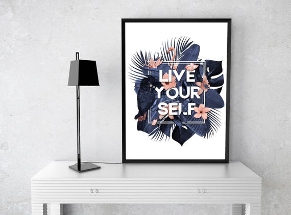 Live Your Self | Framed Poster | Wall art decoration | Tropical leaves | Parrots and butterflies| Motivational poster | ZuskaArt