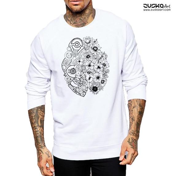 Left Brain Right Brain | Unisex Heavy Blend Crewneck Sweatshirt | Graphic Sweatshirt | Pen and Ink art| Tattoo Style| Original art| ZuskaArt