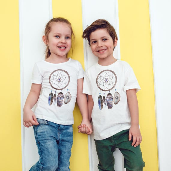 Feathers Dreamcatcher   Unisex kids T-shirt   American apparel for children and toddlers   original watercolor artwork  graphic native tee  