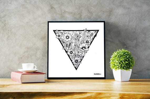 Triangle flowers | Framed Poster | Wall decor | Ink Illustration | Tattoo art | Black and white | Floral art | Geometric drawing | ZuskaArt
