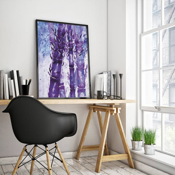 Bamboo Forest |  Framed poster | Wall art | Watercolor painting | Poster Art | Archival Print  | Japanese Purple Art | Nursery | ZuskaArt
