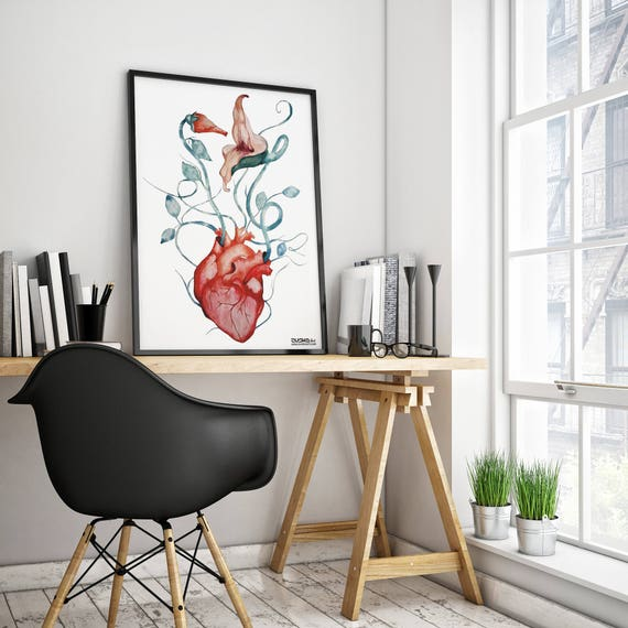 Pink Floyd The Wall Flowers | Framed Poster | Wall art decor | Rock music fan gift | Anatomical heart | Psychedelic artwork | ZuskaArt