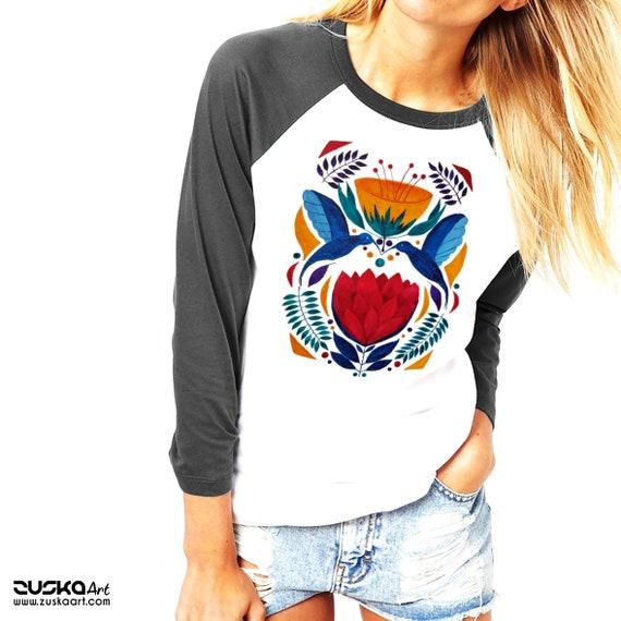 Love Birds   Unisex Raglan T-Shirt   3/4 sleeves   Baseball shirt   Apparel for her / him   Watercolor   Hummingbirds   Ethnic   ZuskaArt