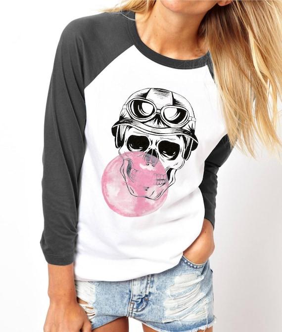 Sugar Skull   Bubble gum   Halloween   Unisex Raglan T-Shirt   3/4 sleeves   Baseball shirt   Hand painted  Watercolor and ink tee design
