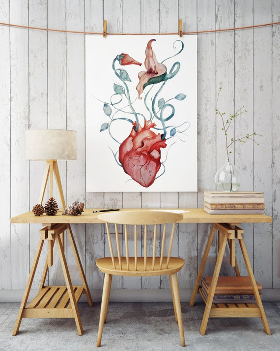 Pink Floyd The Wall Flowers | Archival Paper poster | Wall decor | Rock music fan art gift | Watercolor painting |Anatomical heart| ZuskaArt