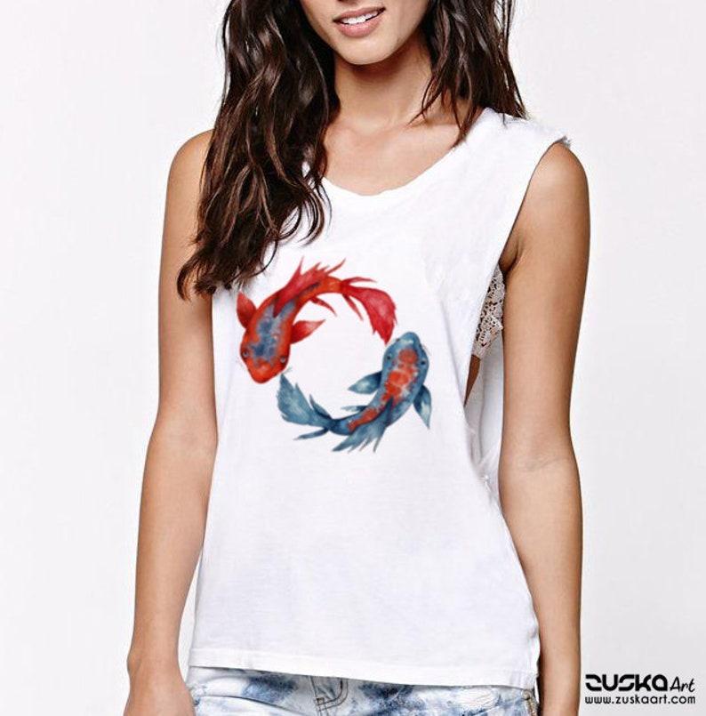b35fe607e5d92 Yin Yang Koi Fish Women Sexy and Flowy Muscle Tank Top