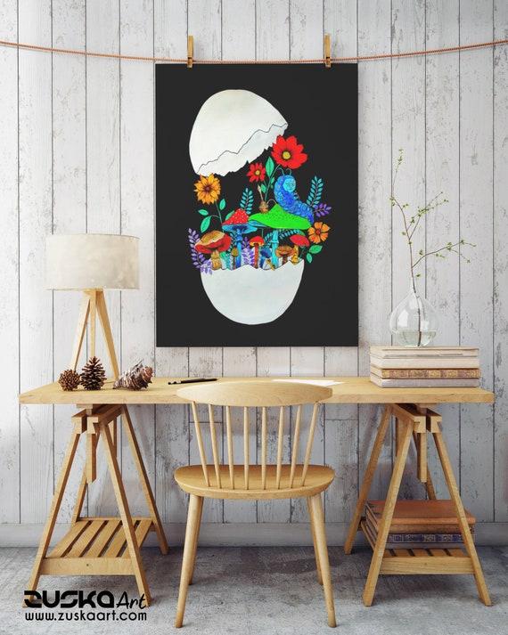 Smoking caterpillar | Paper Poster | Absolem | Alice in wonderland | Magic mushrooms | Psychedelic art | Watercolor egg painting | ZuskaArt