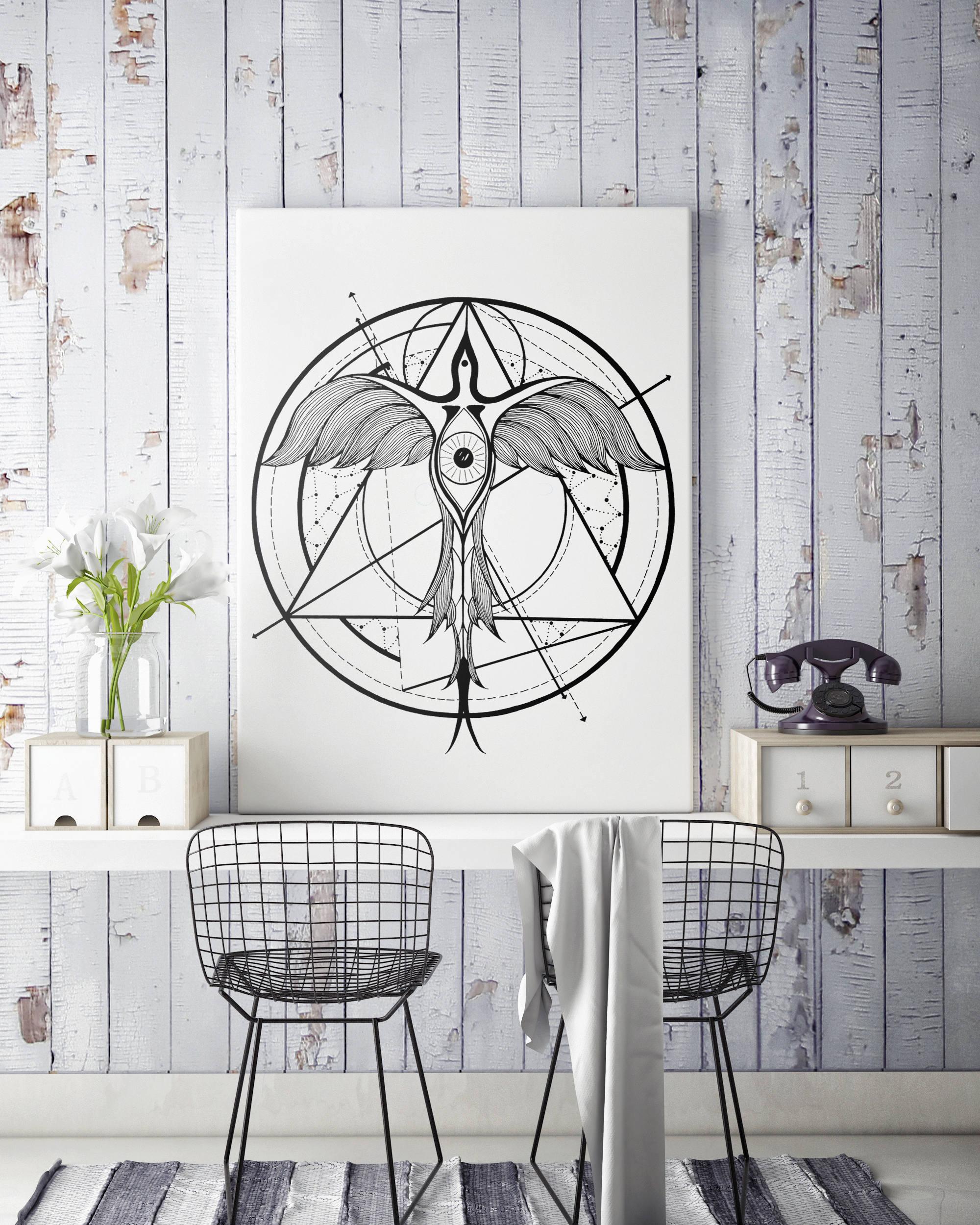 Phoenix ascending | Framed canvas| Geometrical art | Black and white ...