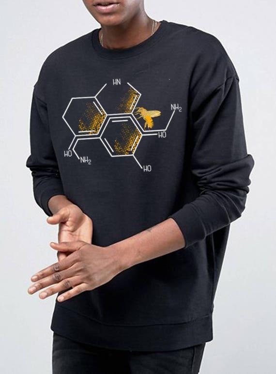 Nectar of Life   Unisex Heavy Blend Crewneck Sweatshirt   Serotonin and Dopamine chemical formulas  Bee honeycomb   Chemistry geek  ZuskaArt