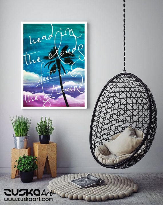 Head in the clouds feet on the ground | Framed Canvas | Palm tree painting | Painting | Wall decoration | Beach art | ZuskaArt