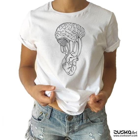 Mind and Spirit   Heart and brain   Unisex T-shirt   Women / Men Clothing   Personalized T-shirt   Apparel   Graphic Tee   ZuskaArt