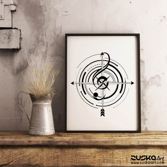 Sol key compass | Framed Poster | Wall art decoration | Music Lover | Ink drawing | Tattoo Style | Geometrical Art | ZuskaArt
