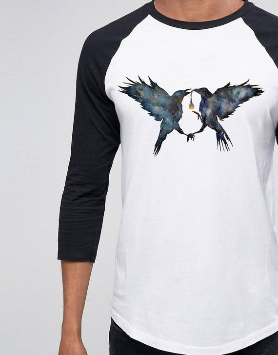 Magic Ravens | Unisex Raglan T-Shirt |Shamanic crow | Elixir Potion | Galaxy | Witchcraft | Spirit animal totem | Native American | ZuskaArt